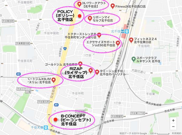 北千住パーソナルトレーニングジムマップ