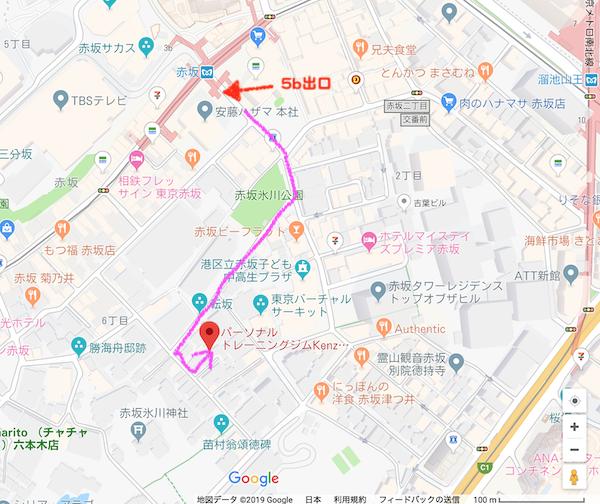 赤坂駅からKenz(ケンズ)までの地図
